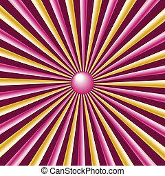 sunburst, rayos, oro, y, rosa, borgoña, plano de fondo