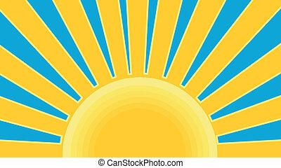 Illustration of a sunburst done in retro style.