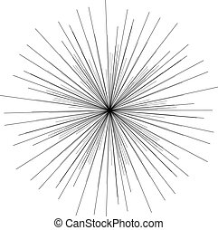 Sunburst, starburst shape black on white. Design element. Radiating radial merging lines, stripes or fireworks. Abstract circular geometric pattern. Vector illustration