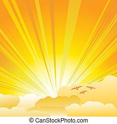 Sunburst - Sun and clouds background illustration