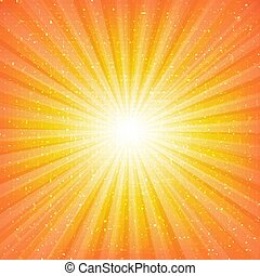 sunburst, tło, gwiazdy