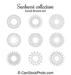 Sunburst vector collection. Retro rays frames. Star burst hand drawn circles. Sunshine decorative elements.