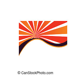 Sunburst Wave - A sunburst and wavy shapes are featured in...