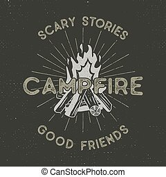 sunbursts, vetorial, acampamento, letterpress, effect., vindima, textured, logotype, ilustração, isolado, t-shirt, campfire, hipster, aventura, textos, dark., mão, desenhado, etiqueta, ao ar livre, design.