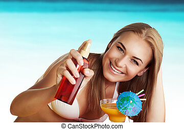 suncream , χρησιμοποιώνταs , γυναίκα , παραλία