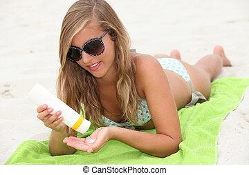suncream, femme, plage