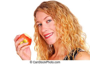 sund kvinde, ædt æble, unge