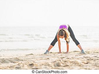 sund kvinde, strand, unge, strakte