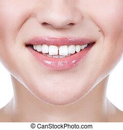 sund kvinde, tænder, og, smile., lukke, oppe.