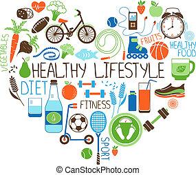 sund lifestyle, diæt, og, duelighed, hjerte, tegn