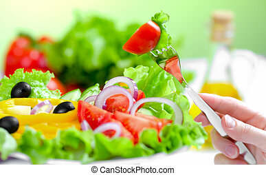 sund mad, frisk grønsag, salat, og, gaffel