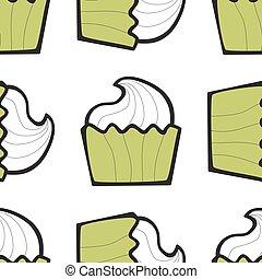 Sundae ice cream, cake or frozen yogurt seamless background