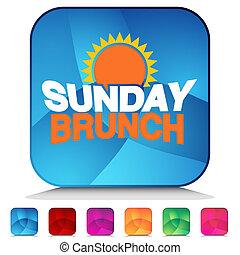 Sunday Brunch Shiny Button Set - An image of a Sunday Brunch...