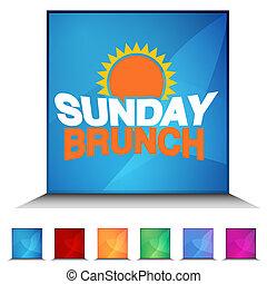 An image of a Sunday Brunch shiny button set.