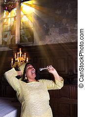 Sunday gospel singer - Gospel singer during mass with...