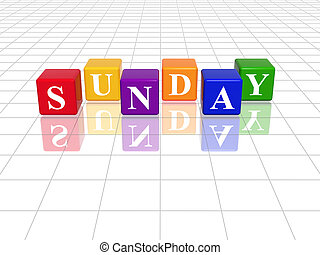 3d coloured cubes with letters makes sunday
