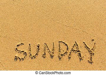 Sunday - inscription by hand