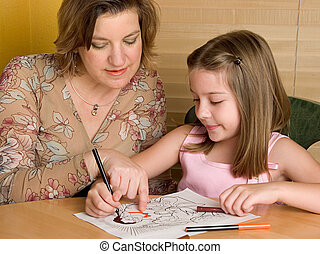 Sunday Lessons - A woman teaching a little girl about Jesus,...