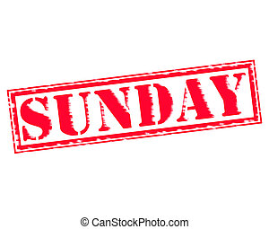 SUNDAY RED Stamp Text on white backgroud