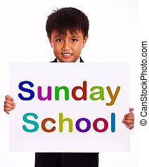 Sunday School Sign Showing Christian Kids Activity