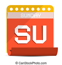 Sunday Vector Paper Calendar Illustration