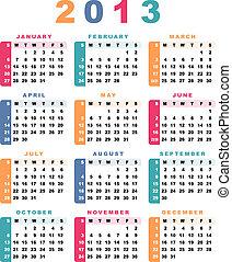 sunday)., (week, calendário, 2013, começa