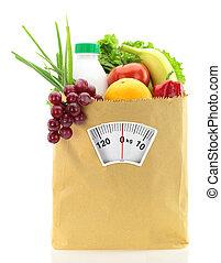sunde, diet., frisk mad, ind, en avis, bag