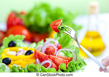 sunde, frisk grønsag, salat, og, gaffel