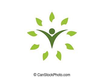 sunde, logo, liv, skabelon