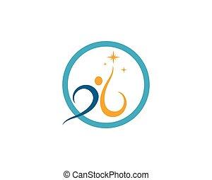 sunde, logo, liv, vektor, skabelon