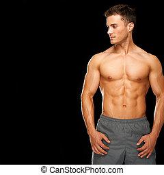 sunde, muskuløse, mand, sportsmæssige, isoleret, sort