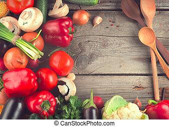 sunde, organisk, grønsager, på, af træ, baggrund