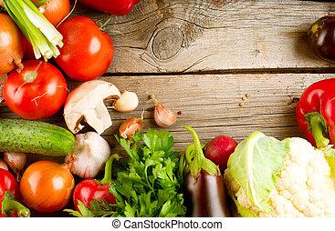 sunde, organisk, grønsager, på, den, af træ, baggrund