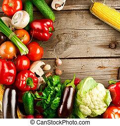 sunde, organisk, grønsager, på, en, af træ, baggrund