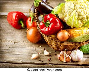 sunde, organisk, grønsager, på, en, træ, baggrund