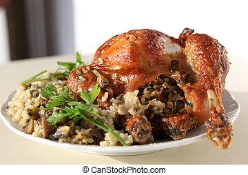 sunde, ret, i, blandet, ris, kylling, kød, og, grønsager