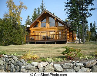 Sundeck on log cabin - Can relax with a view on the roomy...