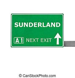 sunderland, branca, isolado, sinal estrada
