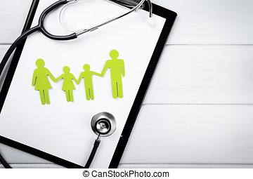 sundhed familie, og, forsikring liv, concept., kopi space