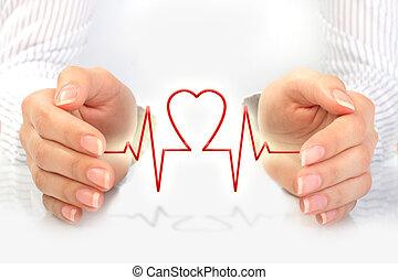 sundhed forsikring, concept.