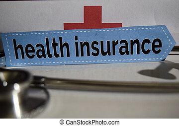 sundhed forsikring, meddelelse, hos, stetoskop, sundhed omsorg, concept.