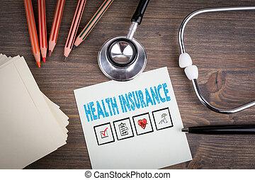 sundhed, insurance., arbejdspladsen, i, en, doktor., stetoskop, på, af træ, desk.