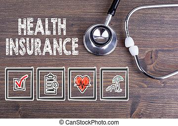 sundhed, insurance., stetoskop, på, træagtigt skrivebord, baggrund.