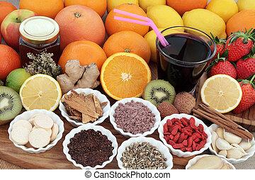 sundhed mad, og, drink, afhjælpe