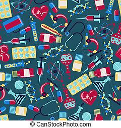 sundhed, medicinsk, pattern., seamless, omsorg