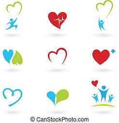 sundhed, og, medicinske ikoner, på hvide