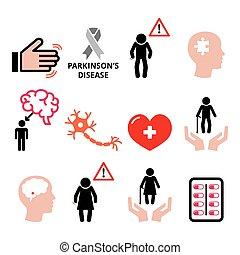 sundhed, senior's, bedstemor, parkinson's, folk, sæt, -, gamle, iconerne, disease, grandpa