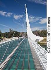 Sundial Bridge is a cantilever spar cable-stayed bridge for ...