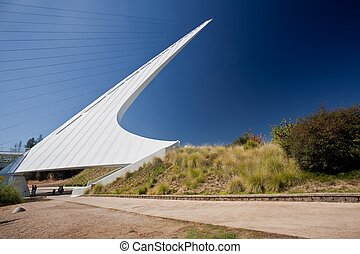 Sundial Bridge is a cantilever spar cable-stayed bridge for...