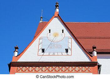 Sundial clock on the Parish Church